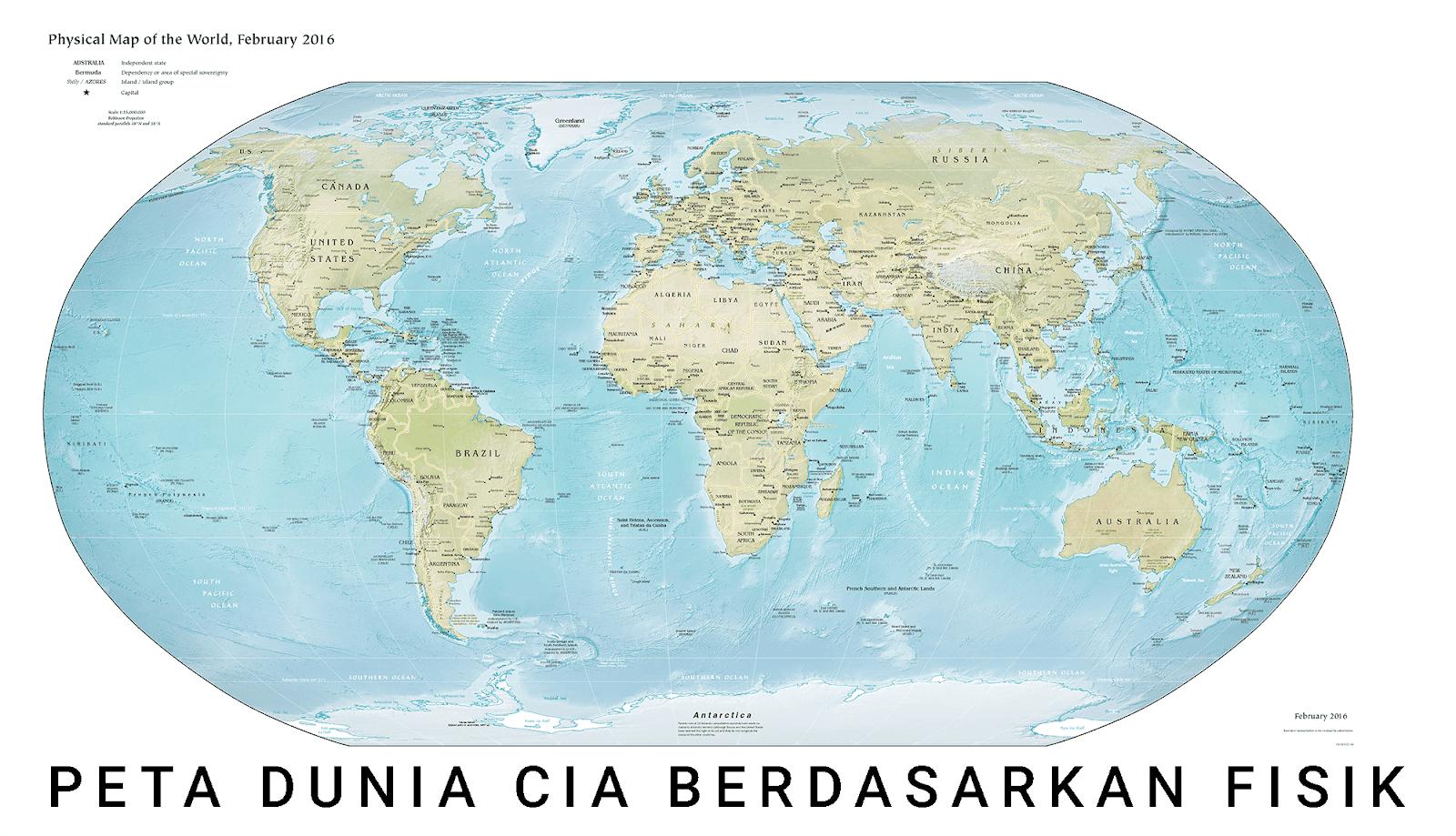 gambar peta dunia ukuran besar versi CIA berdasarkan fisik