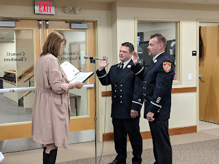 Lt Sean Lovely,  Lt Kevin Marshall being sworn in by Town Clerk Teresa Burr
