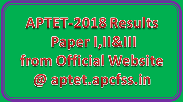 APTET-2018 Results Paper I,II&III from Official Website @ aptet.apcfss.in