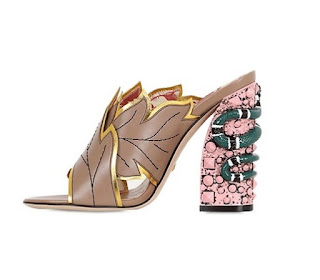 Gucci Block Heels Mules with leaf and snake detail