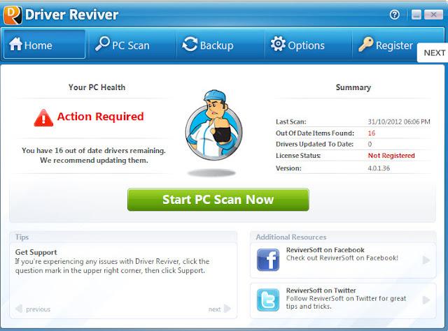 تحميل برنامج  driver reviver للحصول على جميع التعريفات الناقصة على جهاز الكمبيوتر