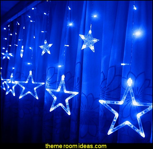 Star Curtain Lights  celestial - moon - stars - astrology - galaxy theme decorating ideas - moon stars bedroom ideas - outerspace theme bedrooms - constellation bedding - night sky wall murals - moon stars wallpaper murals - moon stars bedding - star decorations