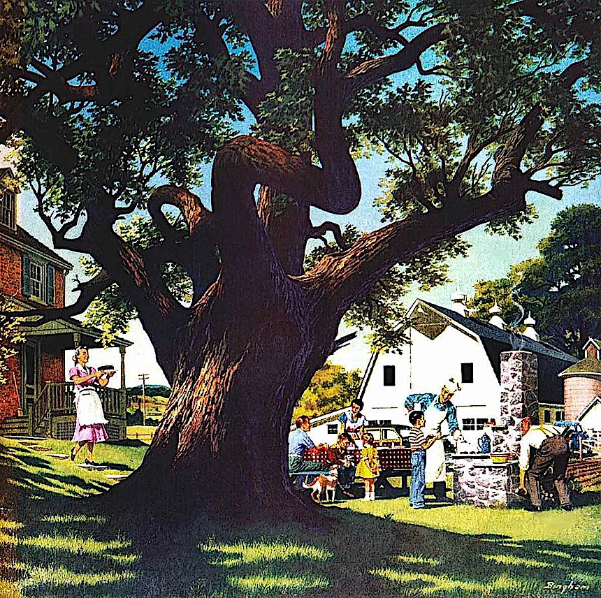 a James R. Bingham illustration, tree is part of the family