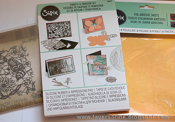 Layers of ink - Debossed Metallic Bird Tutorial by Anna-Karin with Tim Holtz Paper Cut Bird