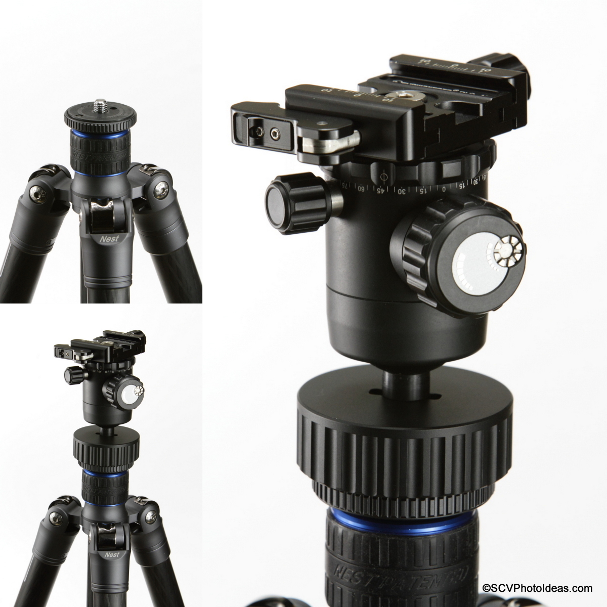 Tripod mouting sequence of inverted Sunwayfoto FB-36 BH via SCV-FK Flip kit