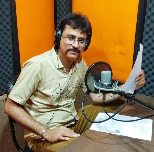 Film Journalist Deepak Dua at a recording session
