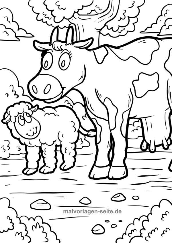 Malvorlage-Ausmalbild-Bauernhof-Tiere