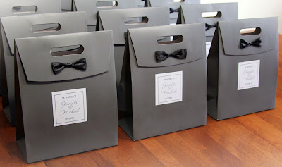 Wedding Ideas - How to keep your guests WOWed - Grey Bowtie Wedding favor bags - Wedding ideas by K'Mich Philadelphia's premier resource for wedding planning and inspiration