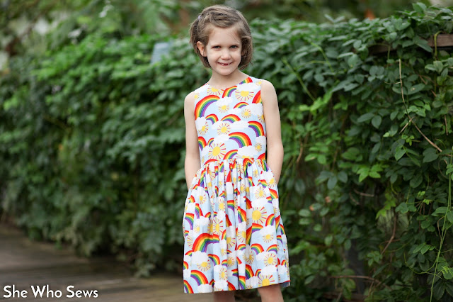 Girls rainbow dress with pockets