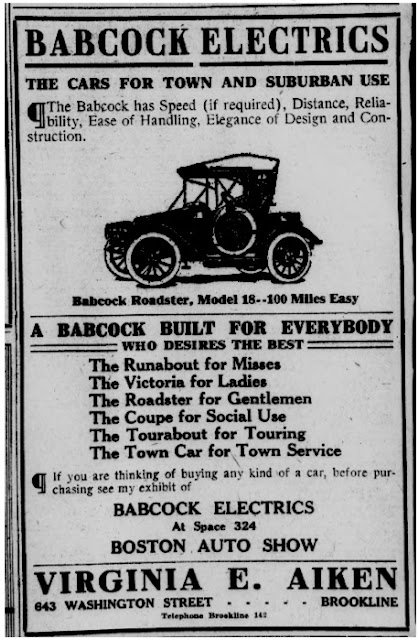 Boston Post ad for Virginia Aiken's dealership