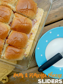 Ham and Pimento Cheese Sliders...a sandwich you will not be able to walk away from!  Salty ham, spicy pimento cheese all on a buttery bun.  Delicious! (sweetandsavoryfood.com)