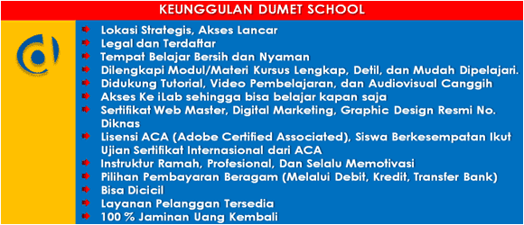 kursus desain grafis dan internet marketing dumet school