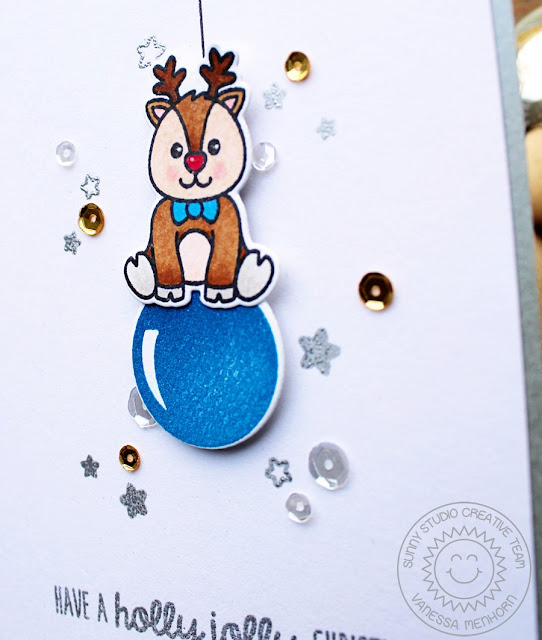Sunny Studio Stamps: Gleeful Reindeer & Holiday Style Christmas Card by Vanessa Menhorn.