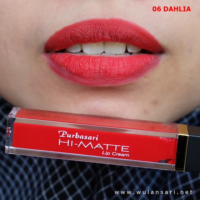review purbasari hi-matte lip cream 06 dahlia hydra series