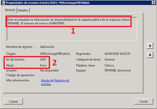 Error Origen del evento: MSExchangeFBPublish Id. de evento: 8207