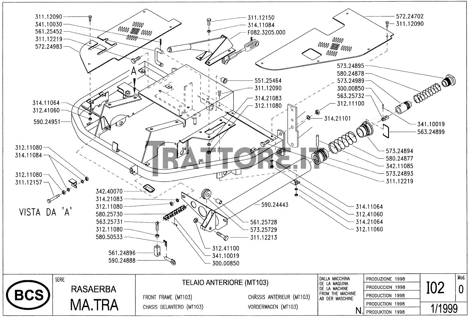 InfoTrattore.it: Manuale (esploso meccanico) Rasaerba