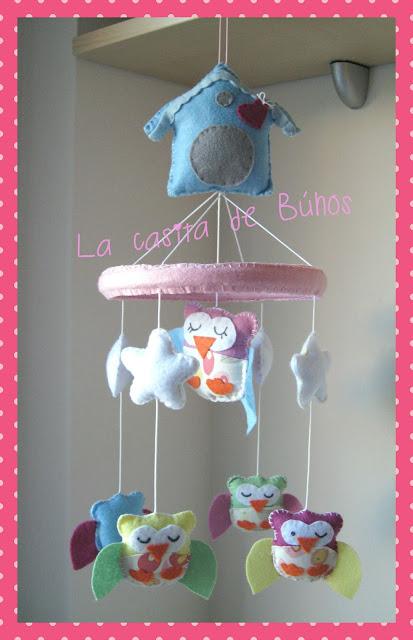 Móvil cuna búhos - Owl crib mobile