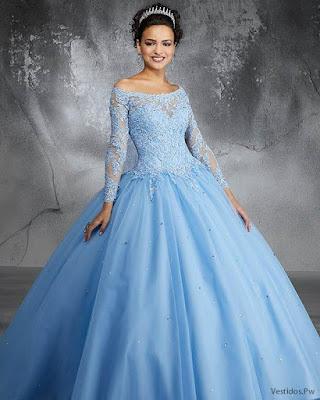 Vestidos de XV Años Color Celeste