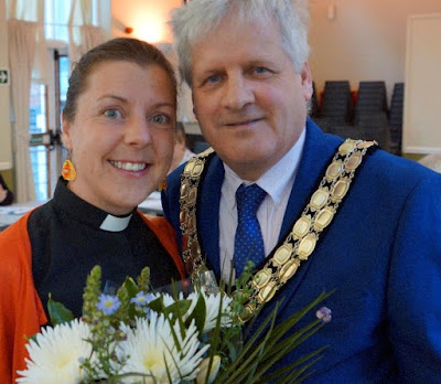Brigg Curate the Rev Trudy Hobson with retiring Town Mayor Coun Donald Campbell - May 2019