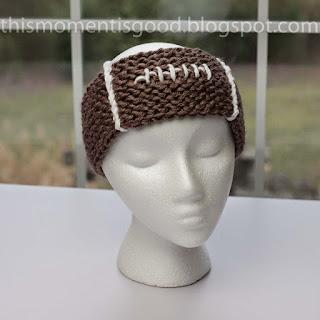 Loom knit football themed headband free pattern
