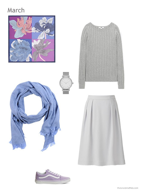 pale grey skirt outfit with scarf, watch and canvas shoes