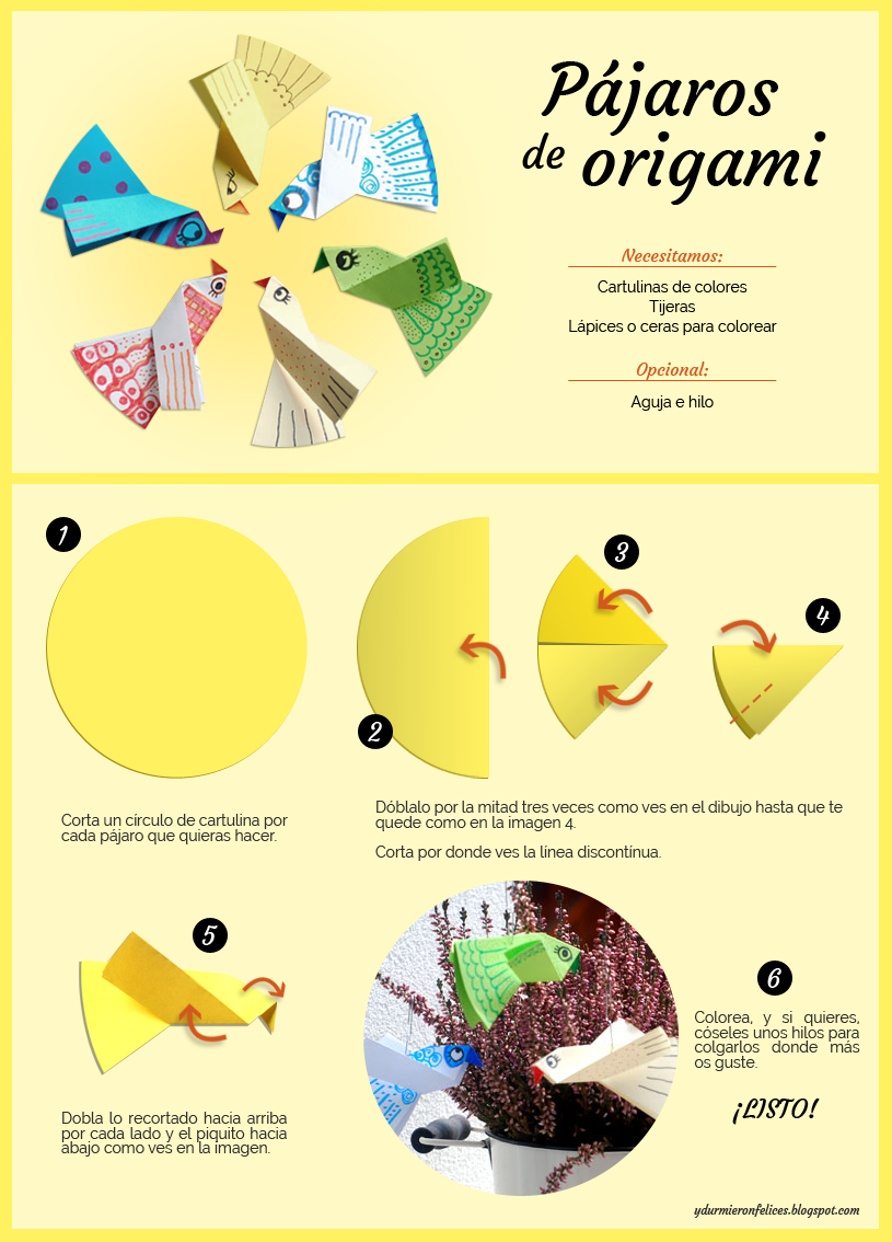 tutorial diy origami pajaros papel