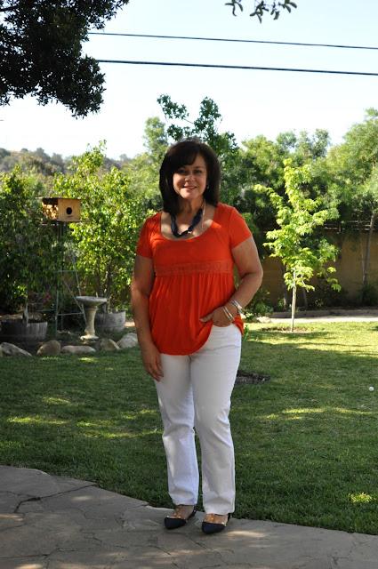 classic white, blue and orange fashion
