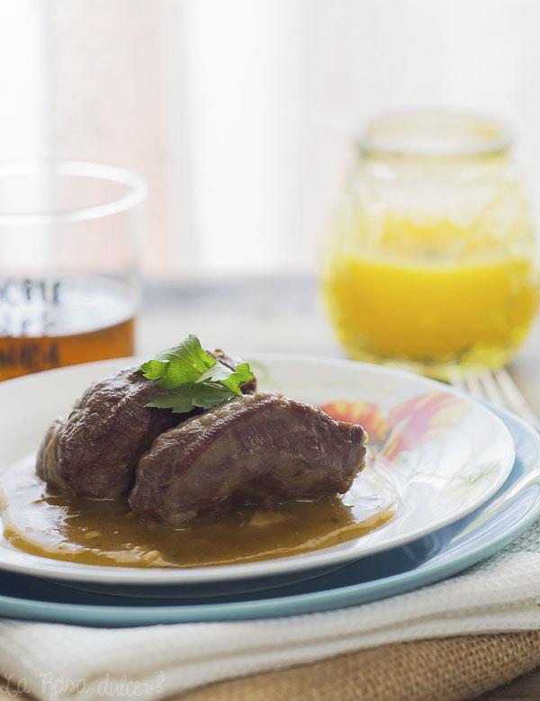 Carrilleras en salsa de naranja | en olla exprés | la Rosa dulce