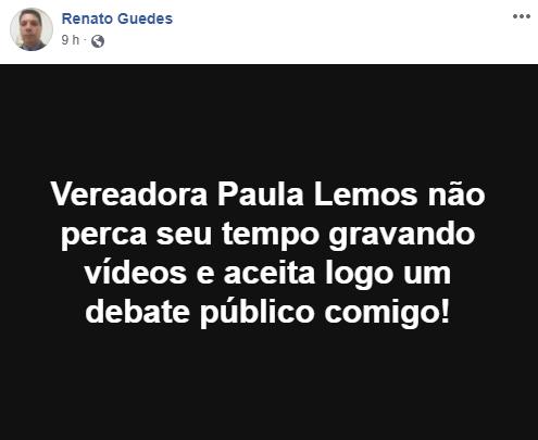 Imagem oriunda de texto em postagem do Renato Guedes líder do MBL Barretos em seu perfil no Facebook a respeito da Vereadora Paula Lemos (PSB) que seria uma falsa opositora do prefeito investigado por corrupção. https://www.facebook.com/renatoguedes.perfil2/posts/780285212364713