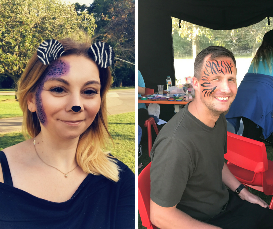 colourful face paint at Whipsnade Zoo Sunset Safari