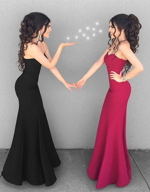 Mermaid Simple Black Sweetheart-neck Stylish Long Evening Dresses