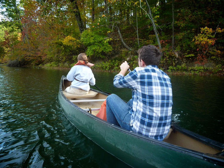 Matthew Riccetti and Maria -- Cool temps and autumn color made this canoeing adventure at Greenbo Lake State Park in Kentucky especially nice.