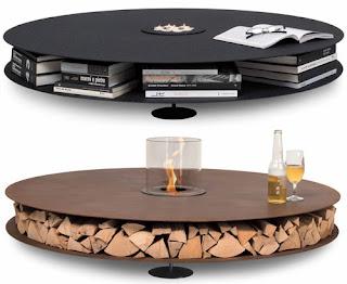 Diseño de mesa ciruclar color negro innovadora con espacio para guardar libros
