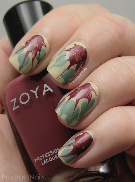 Needle Drag Poinsettia Nail Art with Zoya Nail Polish
