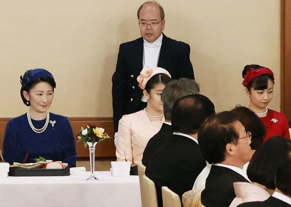Japanese Prime Minister Shinzo Abe, Empress Masako, Crown Princess Kiko, Princess Kako and Princess Mako