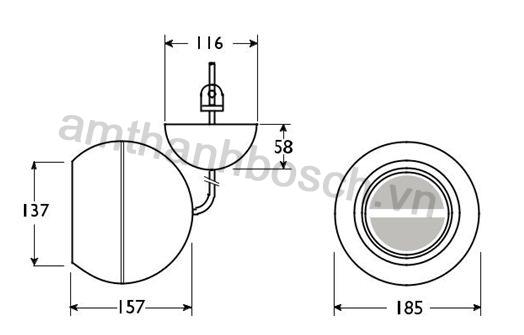 Ghi chú lắp đặt/cấu hình loa treo hình cầu LBC 3095/15