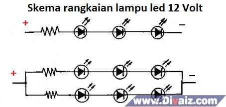 Skema rangkaian lampu led 12 V