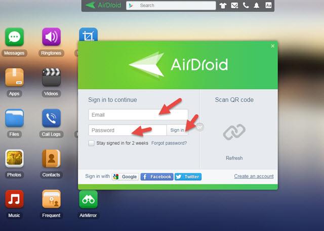 شرح التحكم بهاتفك الاندرويد من الكمبيوتر من خلال تطبيق AirDroid