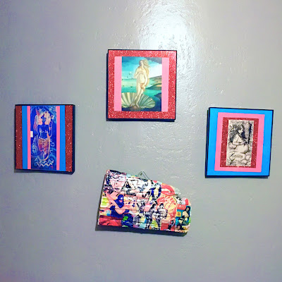 art wall featuring feminist themed art