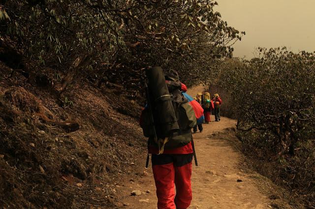 While trekking from Tshoka to Dzongri