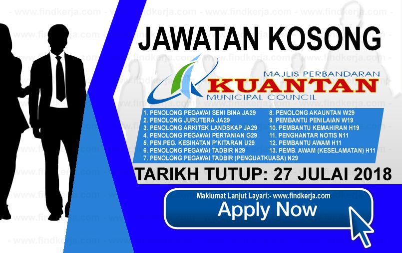 Jawatan Kerja Kosong MPK - Majlis Perbandaran Kuantan logo www.findkerja.com www.ohjob.info julai 2018