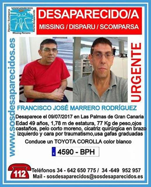 Francisco  José Marrero Rodríguez, hombre desaparecido en Las Palmas de Gran Canaria