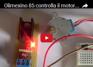Olimexino 85 controlla il motore passo passo 28BYJ-48 col modulo di potenza basato sull' ULN2003A