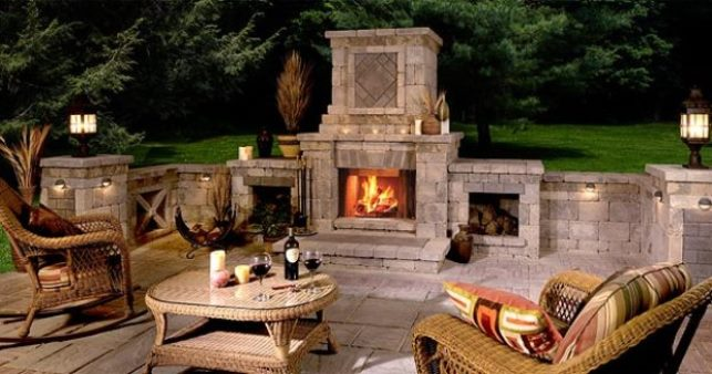 Outdoor Fireplace Design Ideas like the way this fireplace has three openings instead of just the one putting This Is An Excellent Outdoor Fireplace Choice When A Sturdy Year Round Outdoor Fireplace Presence Is Desired Such As Permanent Architecture Around The