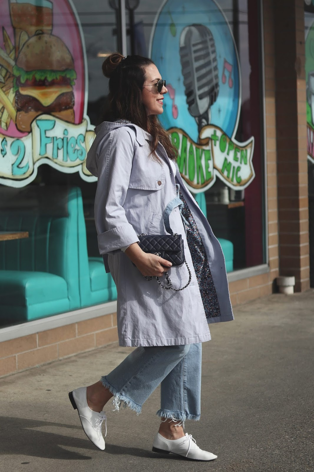 blue trench coat outfit spring joe fresh jacket vancouver fashion blogger levis ribcage jeans chanel mini rectangle bag aleesha harris
