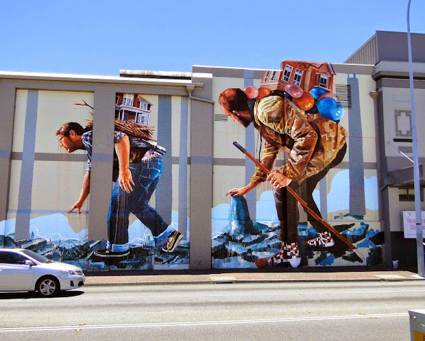 """Fintan Magee Paints """" Migration"""" Mural In Perth"""
