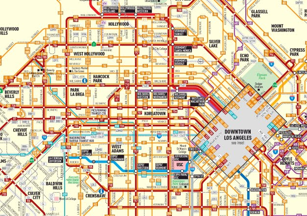 Los Angeles Bus Map SeattleFlyerGuy's All Purpose Travel Blog: Transit in LA: Getting  Los Angeles Bus Map