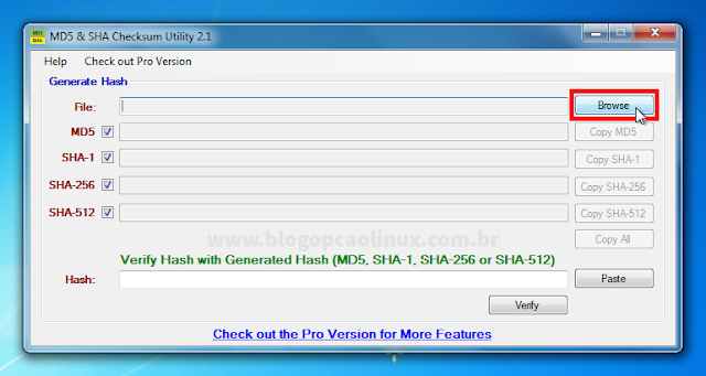 Janela principal do MD5 & SHA Checksum Utility