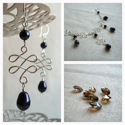 Flourish Wirework & Purple Pearl Necklace & Earrings