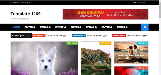 Template Para Blogger menu Colorido